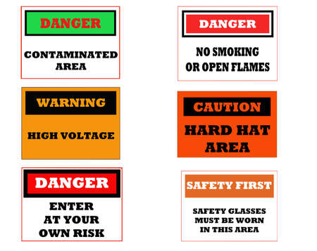 inform information: several caution signs related to industry isolated on white Stock Photo
