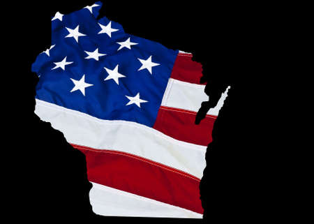state wisconsin: state of Wisconsin outline on the US flag