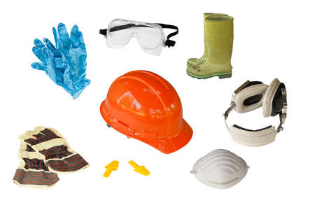 safety gloves: collection of personal safety equipment isolated on white Stock Photo