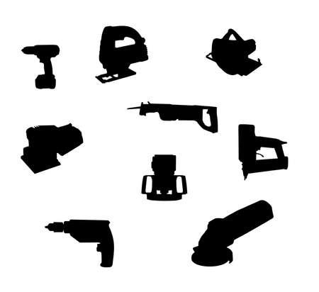 collectie van hand-held power tool silhouetten geïsoleerd op wit Stockfoto