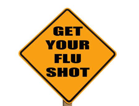 皆が、インフルエンザの予防接種を得ることを思い出させる注意記号