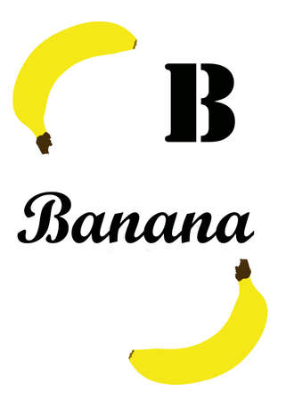 banana illustration with the letter B for teaching the alphabet