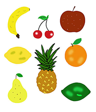 fruit illustrations including banana apple lemon orange pear lime cheeries and pineapple