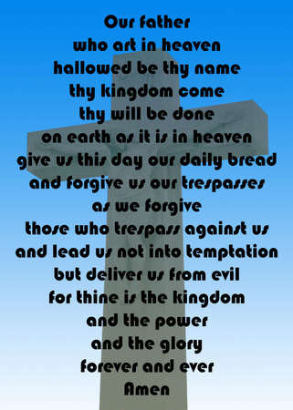 the lords prayer against a cross on a blue gradient background Фото со стока