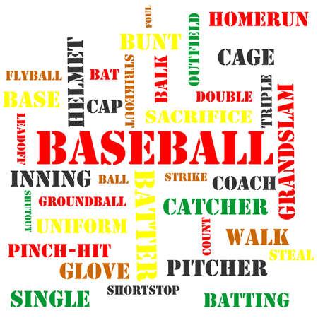 単語の雲の形で野球用語は多数