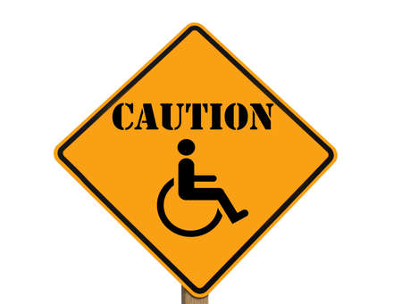 wheelchair caution sign isolated Banco de Imagens - 8517922