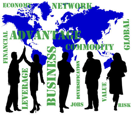 businesses: silhouettes of business people with financial terms and a world map