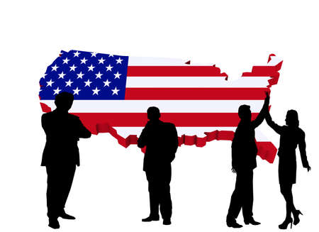 business people silhouettes against a map of america 免版税图像