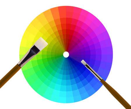 illustratie van een kleurenwiel en borstels op wit Stockfoto