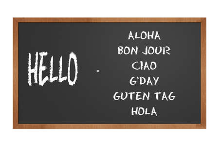 hola: chalkboard illustration showing how to say hello in different languages Stock Photo
