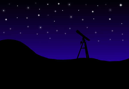 illustration of a telescope pointed at the night sky