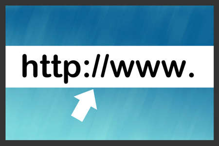 http: illustration of internet search bar with cursor on blue gradient