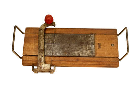 vintage wood and metal cheese cutter with rust Stok Fotoğraf - 9168546