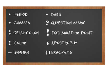 chalkboard showing punctuation marks with clipping path at this size