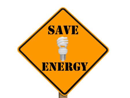 compact fluorescent lightbulb: yellow traffic sign showing a compact fluorescent lightbulb indicating energy savings
