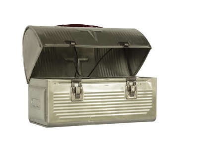 vintage metal lunchbox with clipping path at original size