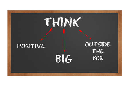 chalkboard stating to think positive and big and outside the box with clipping path at original size photo
