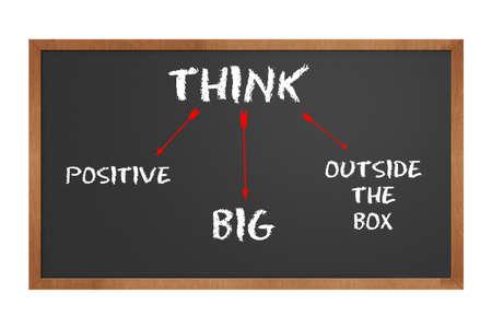 actitud positiva: Pizarra indicando a pensar positivo y grandes y fuera de la caja con trazado de recorte en tama�o original Foto de archivo