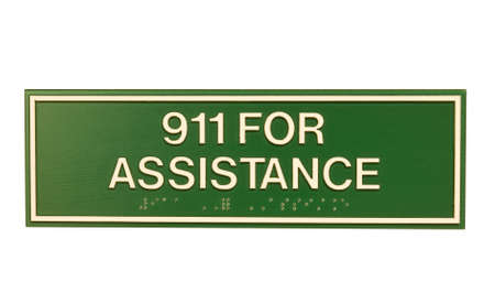 braille: sign informing you to call 911 in an emergency with braille characters Stock Photo