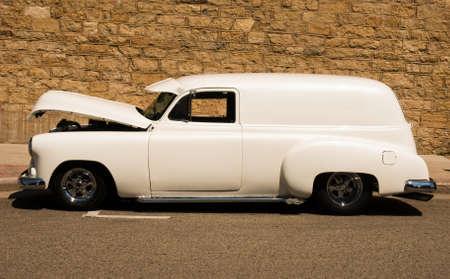 restored: classic panel van hotrod restored to mint condition Stock Photo