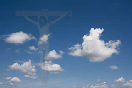 crucifixion of Jesus fading into the sky with clouds Banco de Imagens