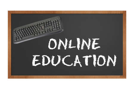 blackboard with keyboard stating online education with clipping path at original size