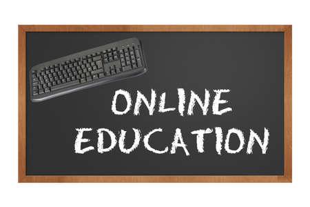 Tafel mit Tastatur Angabe Online-Bildung mit Beschneidungspfad in Originalgröße Standard-Bild - 10713602