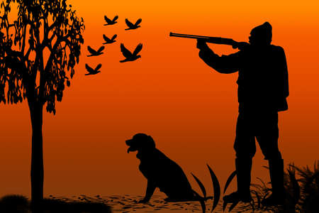 companion: silhouette of a hunter and his canine companion at sunrise Stock Photo