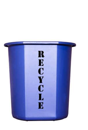 small blue recycle bin
