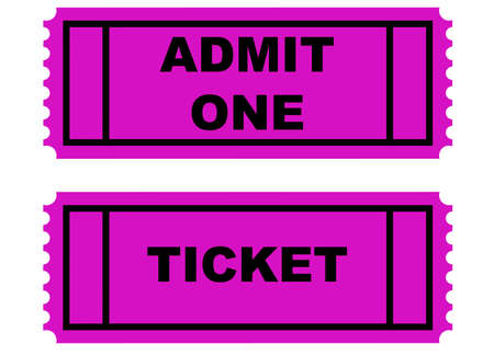 two tickets on white with clipping path at original size