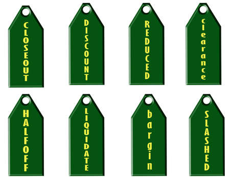 liquidate: set of green sale price tags on white background Stock Photo
