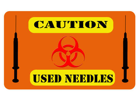 illustration of a biohazard sign with syringe silhouettes and clipping path at original size Stock Photo