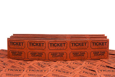 stack of raffle tickets on white with room for copy-space