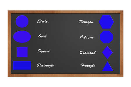 chalkboard featuring the basic shapes for teaching purposes Фото со стока
