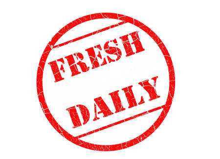 stating: red rubber stamp stating fresh daily with clipping path at original size
