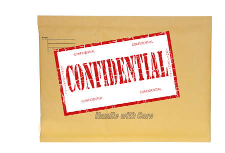 small manila envelope stamped confidential with clipping path at original size photo