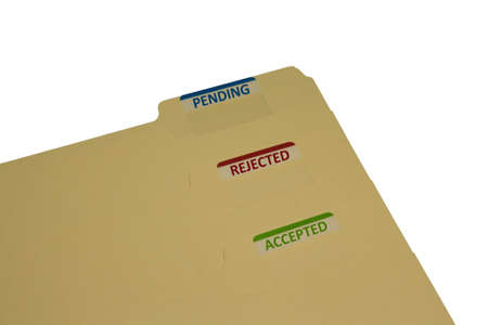 three manila folders with stckers saying approved rejected and pending