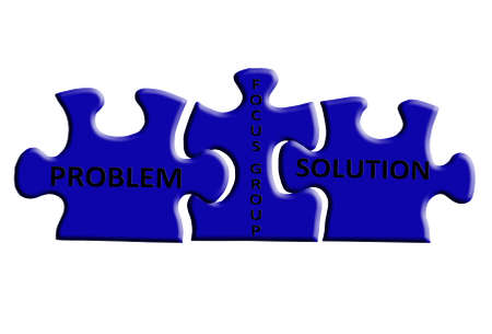 three puzzle pieces representing a focus group is the solution to a problem