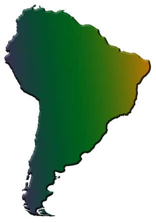 continente americano: ilustraci�n del continente sudamericano aislado en blanco Foto de archivo