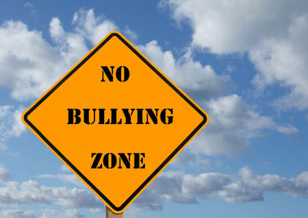 threat: illustration of a sign stating no bullying zone