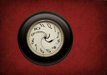 clock with hands and numbers distorted on red grunge background Stockfoto