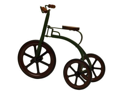 vintage childs tricycle isolated on a white background Stock Photo