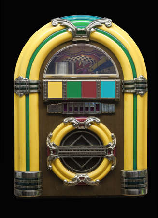 small vintage jukebox on black with clipping path at original size Stock Photo