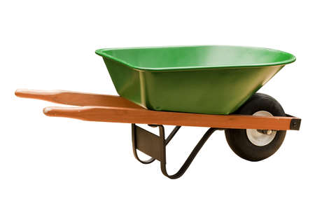 wheelbarrow: green wheelbarrow Stock Photo