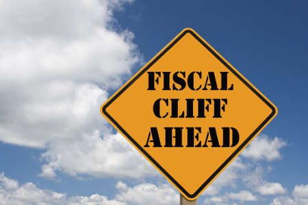 fiscal: fiscal cliff roadsign with clipping path at original size