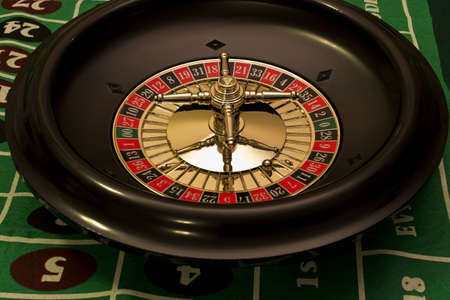 roulette wheel with the ball on lucky number seven