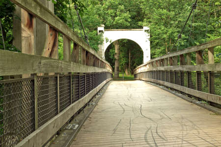 vintage wooden swinging bridge leading into the forest 免版税图像