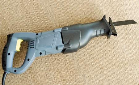closeup view of an electric reciprocating saw