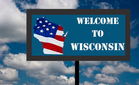 sign welcoming everyone to the state of wisconsin photo