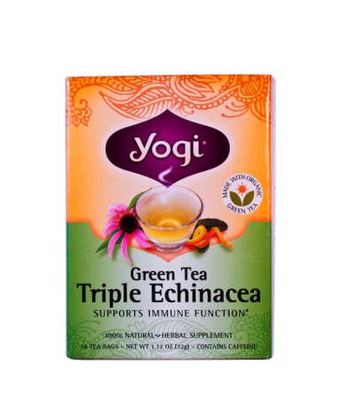 yogi: RIVER FALLS,WISCONSIN-JANUARY 20,2014: A box of Yogi Green Tea. Yogi is a part of East West Tea Company of Portland Oregon.